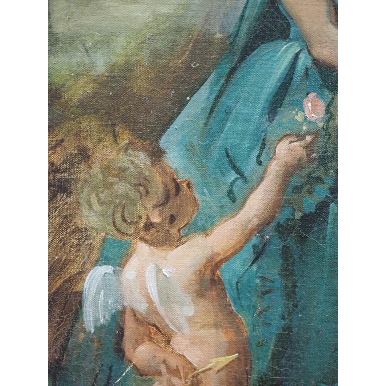 Pittore Francese, Coppia di Dame con Amorino - XIX Secolo