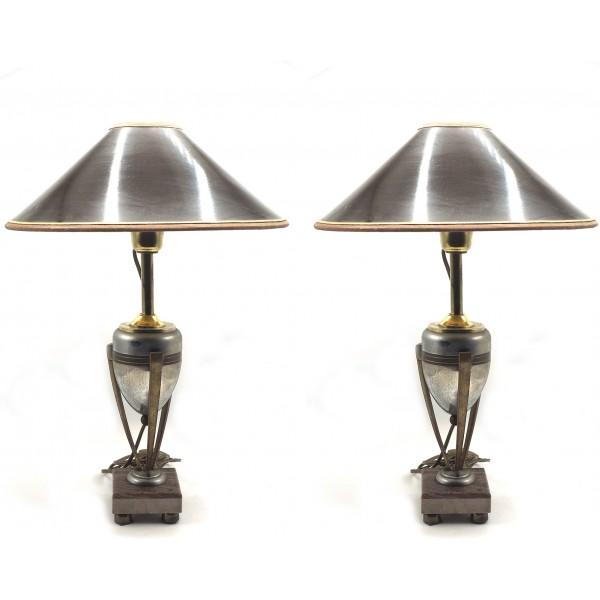 Coppia di lampade in Ottone, Acciaio e Alabastro - Francia, XX Secolo