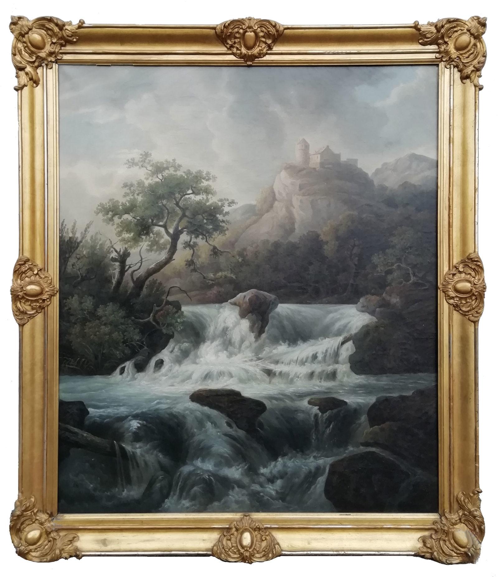 Pittore Romantico Tedesco, Paesaggio con Cascata - XIX Secolo