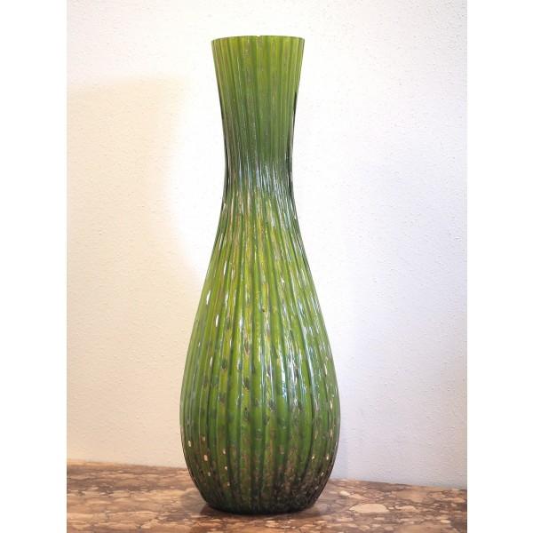 Vaso verde in Vetro di Murano con decorazione a Foglia D'oro - XX Secolo