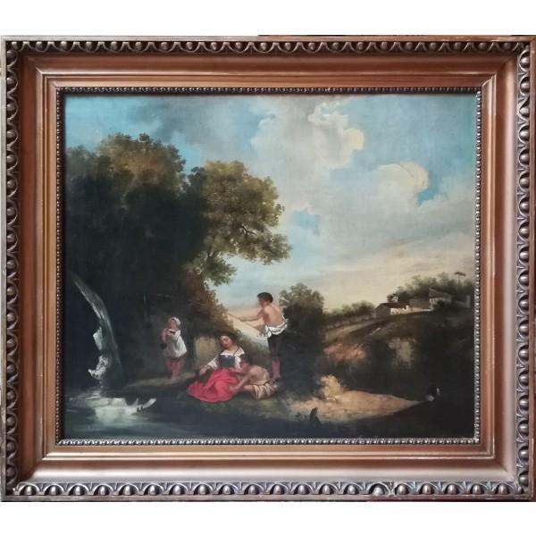 Pittore Francese, Paesaggio con figure - XIX Secolo