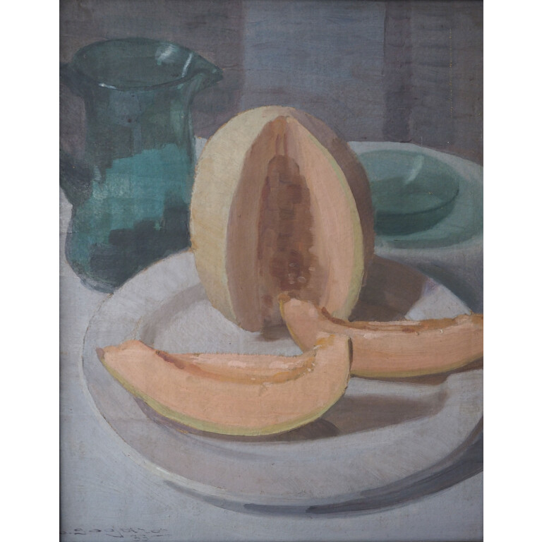 Oscar Sogaro, Nature Morte con Anguria, Melone e Vasi in Vetro - XX Secolo