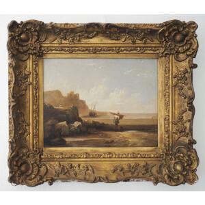 Artista italiano, Paesaggio Costiero con Figure - XVIII secolo