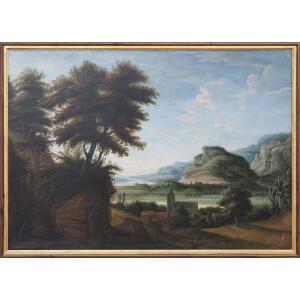 Pittore Fiammingo, Paesaggio con Figure - XVIII Secolo