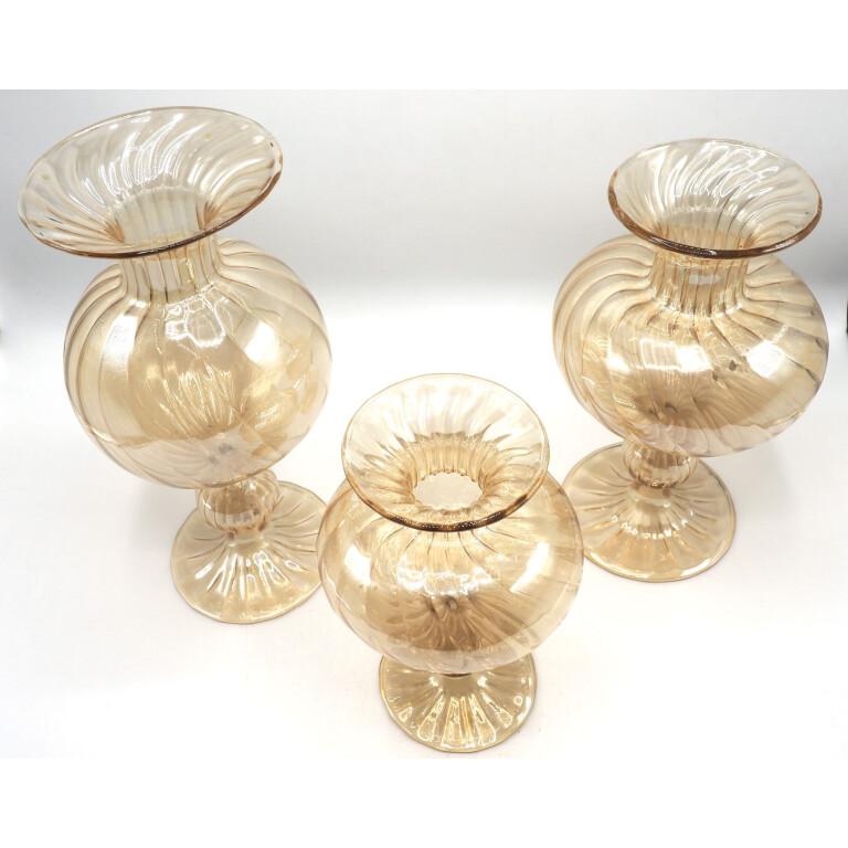 Trittico di Vasi in Vetro di Murano - XX Secolo