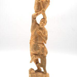 Okimono raffigurante Contadino con Scimmia - Giappone, periodo Meji