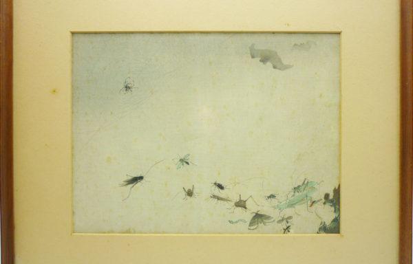 Xilografia Orientale raffigurante Scena con Ragno e Insetti – XX Secolo