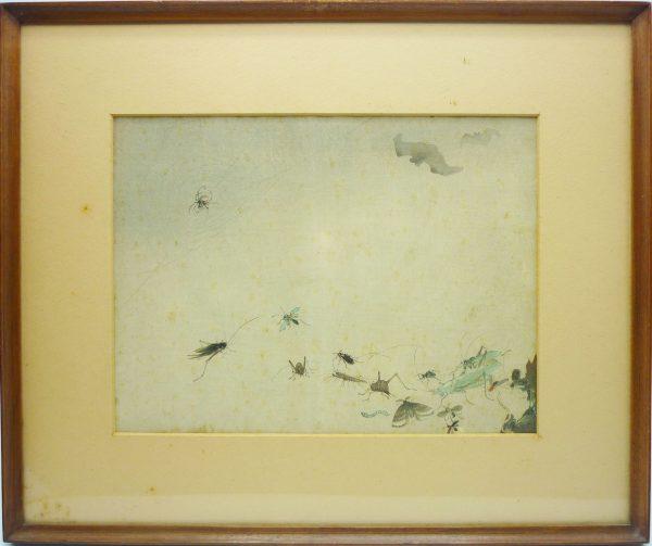 Xilografia Orientale raffigurante Scena con Ragno e Insetti - XX Secolo