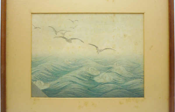 Xilografia Orientale raffigurante Gabbiani in Volo – XX Secolo