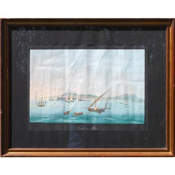 Artista Napoletano, Guache raffigurante Napoli vista dal Mare - XIX Secolo
