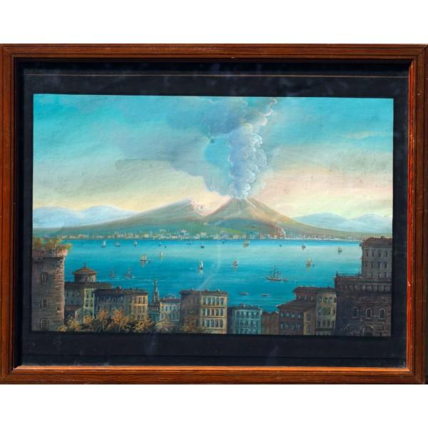 Artista Napoletano, Guache Veduta di Napoli con il Vesuvio in Eruzione - XIX Secolo