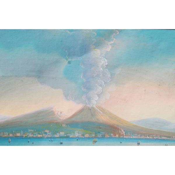Guache Napoli con il Vesuvio in eruzione