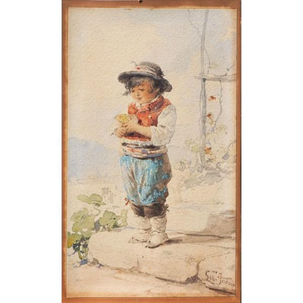 Geronimo Induno, Ritratto di Fanciullo - XIX Secolo