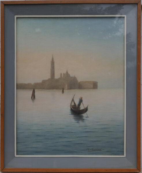 M. Micene, Veduta di San Giorgio con Gondoliere - XX Secolo