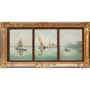 G. Augusti, Trittico di Acquerelli raffiguranti Venezia - XX Secolo