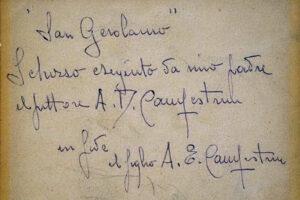 Alcide Davide Campestrini, San Girolamo - Iscrizione Retro