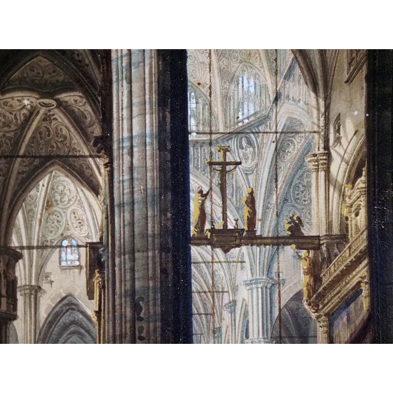 Pittore del XIX Secolo (Luigi Bisi?), Interno del Duomo di Milano