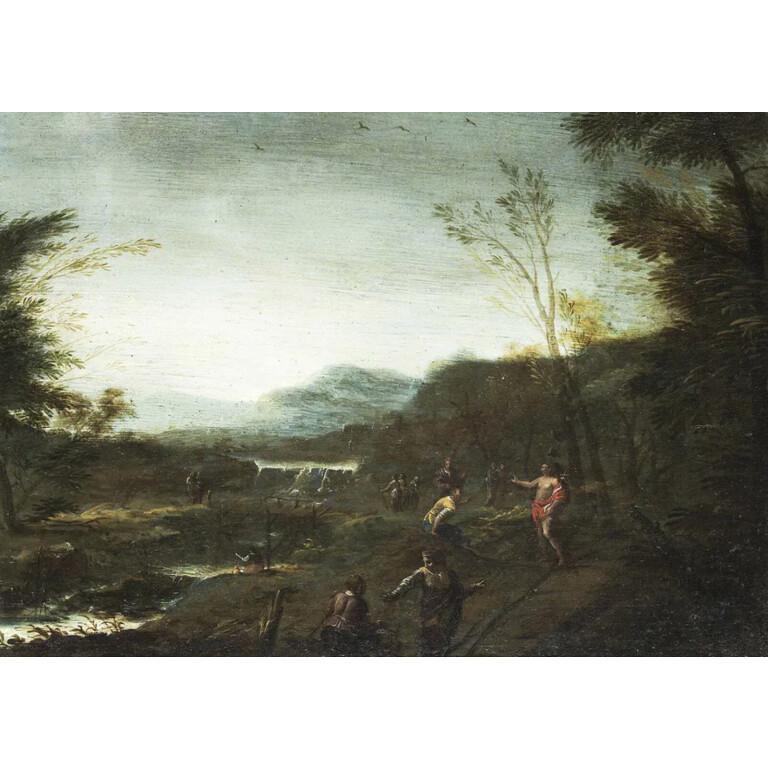 Jan Peeter Verdussen, Coppia di paesaggi con figure - XVIII Secolo