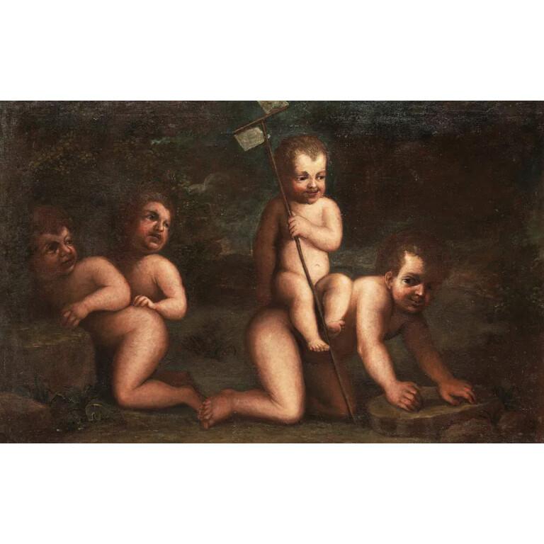 Pittore Bambocciante del XVII secolo, Coppia di Dipinti con Putti che Giocano