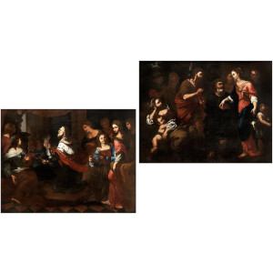 Maestro Genovese Attivo nel XVII Secolo, Coppia di Scene Bibliche