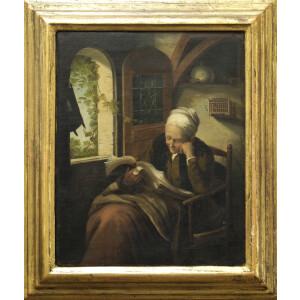 Pittore Fiammingo del XIX Secolo, Vecchia in Lettura