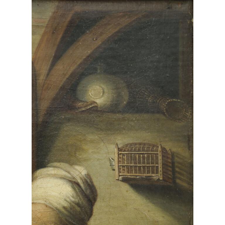 Pittore Fiammingo del XIX Secolo, Vecchia in Lettura - Particolare 4