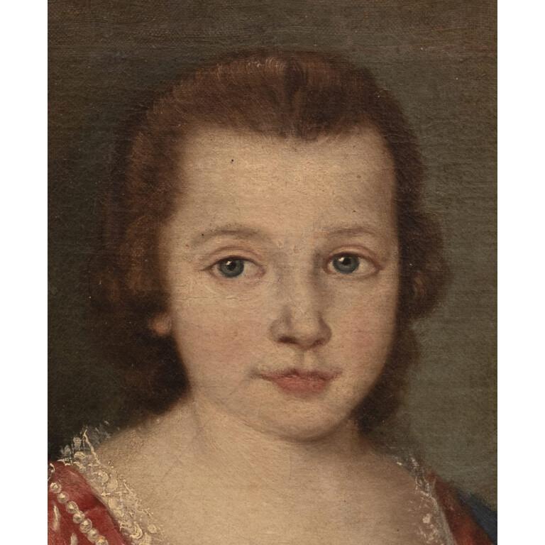 Pittore Veneto attivo nel XVIII Secolo nei modi di Alessandro Longhi, Coppia di Giovani Nane - Dettaglio