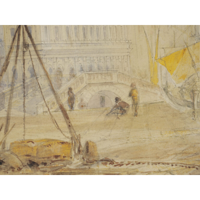 Artista attivo nel XIX Secolo, Acquerello Veduta di Venezia